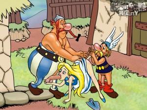 Asterix and Obelix drilling holes of slut